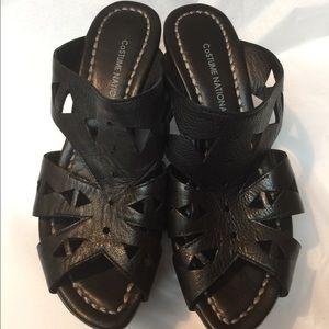 Costume National Black Platform Wedge Shoes